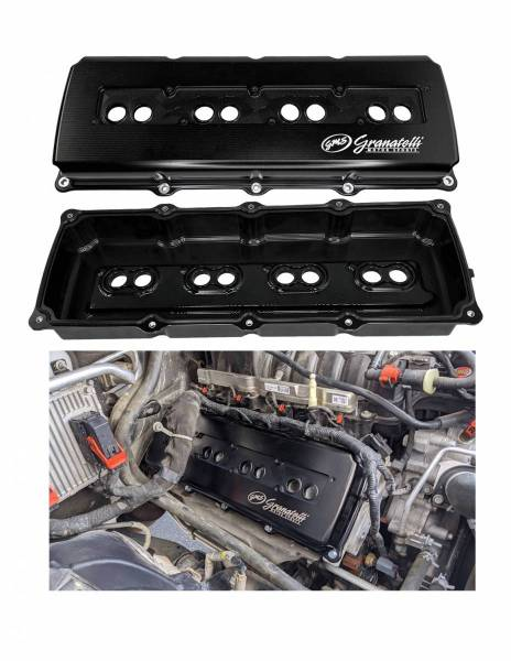 Granatelli Motorsports - Granatelli Motorsports Billet Dodge Hemi Valve Covers 5.7, 6.1, 6.2 & 6.4 Black Anodized